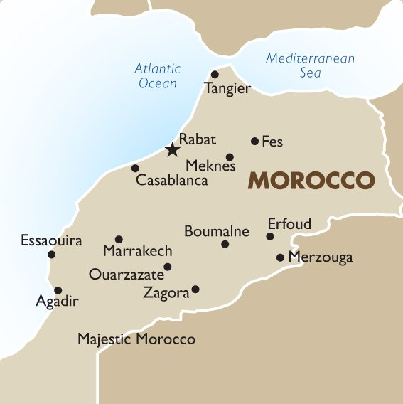 Morocco Tours and Vacations – Morocco Tourist Attractions Map