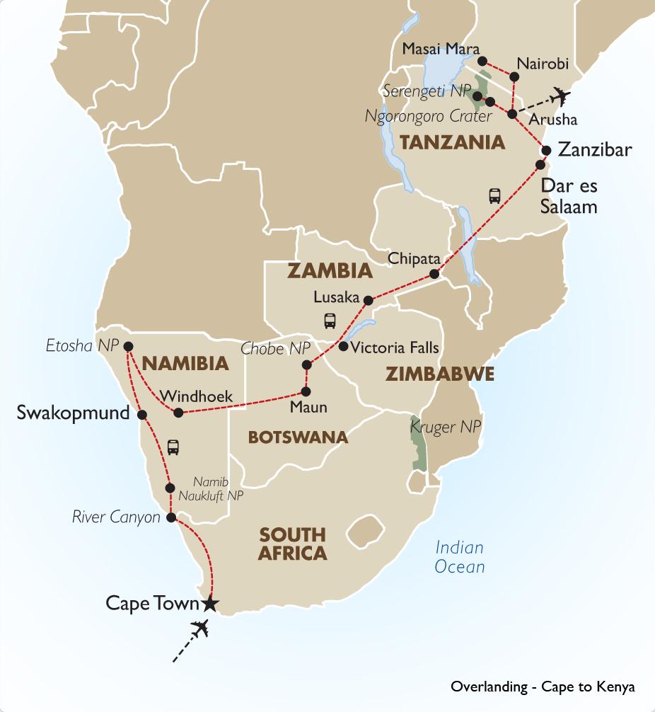 Esencial Info Alojamiento en el sur y el este de África, Australia, y otros países