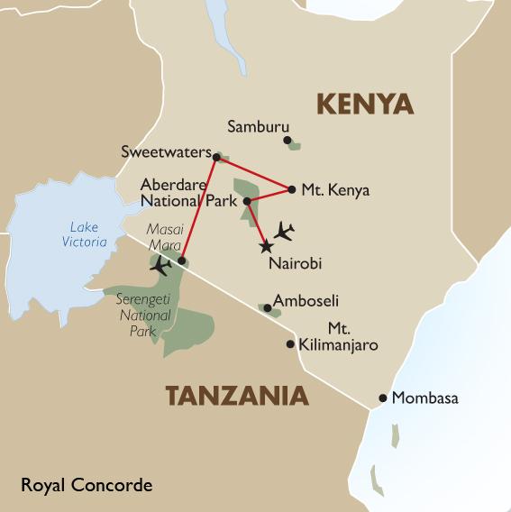 Kenyan safari soul safari goway itinerary view trip map gumiabroncs Images