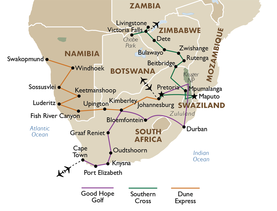 Shongololo dune express south africa tours goway travel - Cape town to port elizabeth itinerary ...