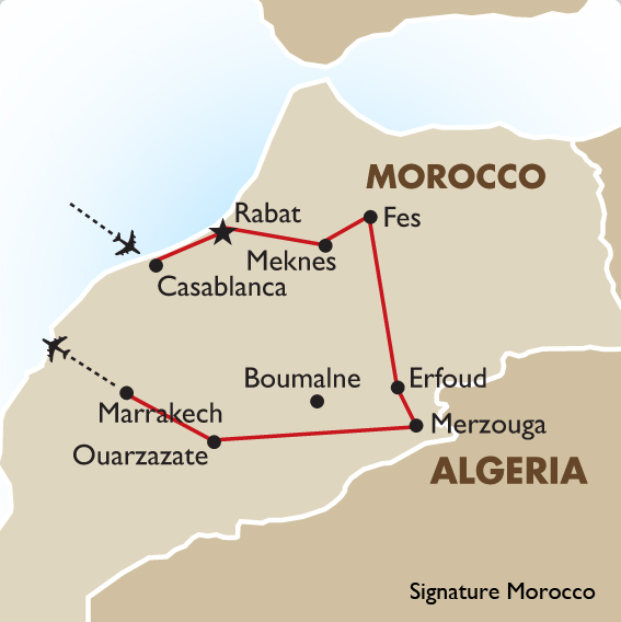 Signature Morocco Holiday of a Lifetime – Morocco Tourist Map