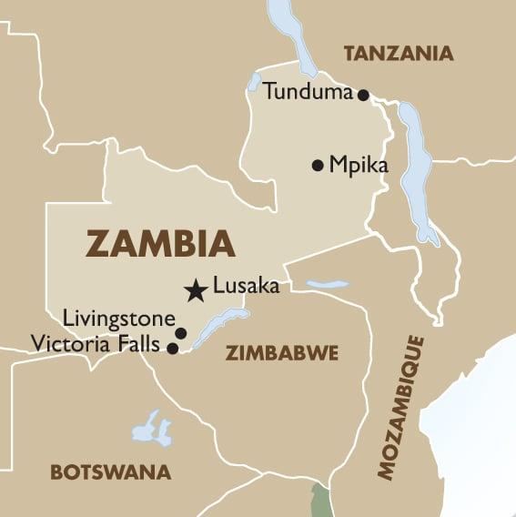 Map Zambia.Zambia Geography And Maps Goway Travel