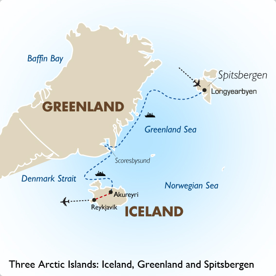 three arctic islands iceland greenland and spitsbergen