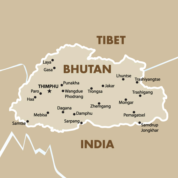 Bhutan Geography And Maps Goway Travel - Map of bhutan