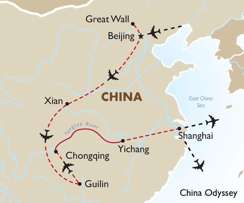 China Luxury Tour Packages – Odyssey Travel Map