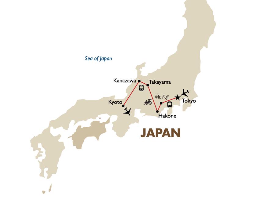 Cultural Japan Incl Airfare Asia Air Land Inclusive Tours Goway - Japan map png