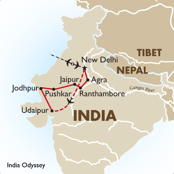 India Tours Locally Escorted Tour – Odyssey Travel Map