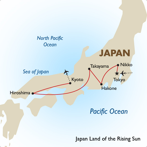 Japan Group Tours Land Of The Rising Sun Goway - Japan map view