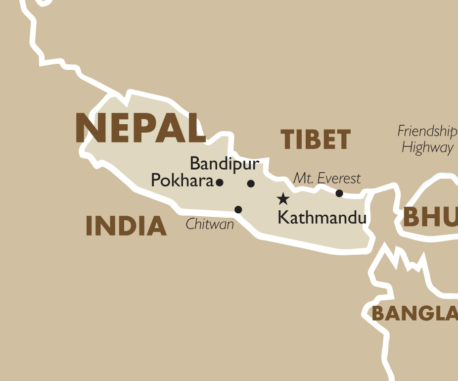Nepal geography and maps goway travel nepal country map sciox Gallery