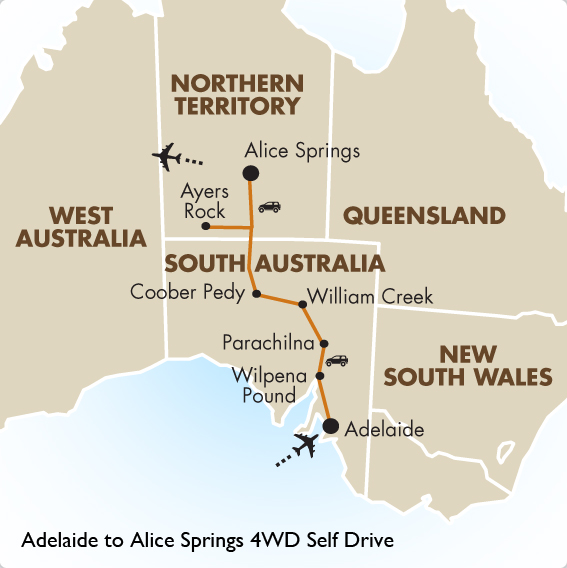 Adelaide to alice springs 4wd self drive australia tours goway itinerary view trip map gumiabroncs Gallery