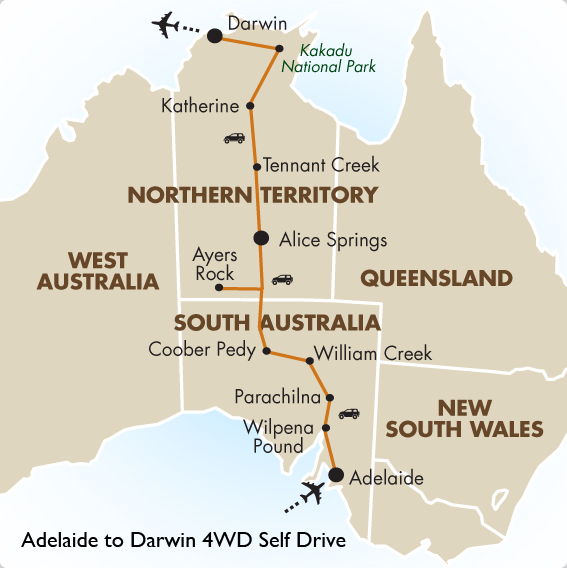 Adelaide to darwin 4wd self drive australia vacations goway itinerary view trip map gumiabroncs Choice Image
