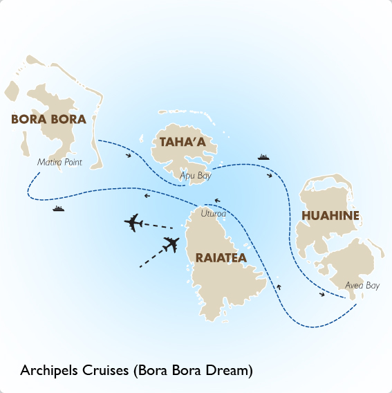 Archipels cruises bora bora dream bora bora vacation goway itinerary view trip map gumiabroncs Image collections