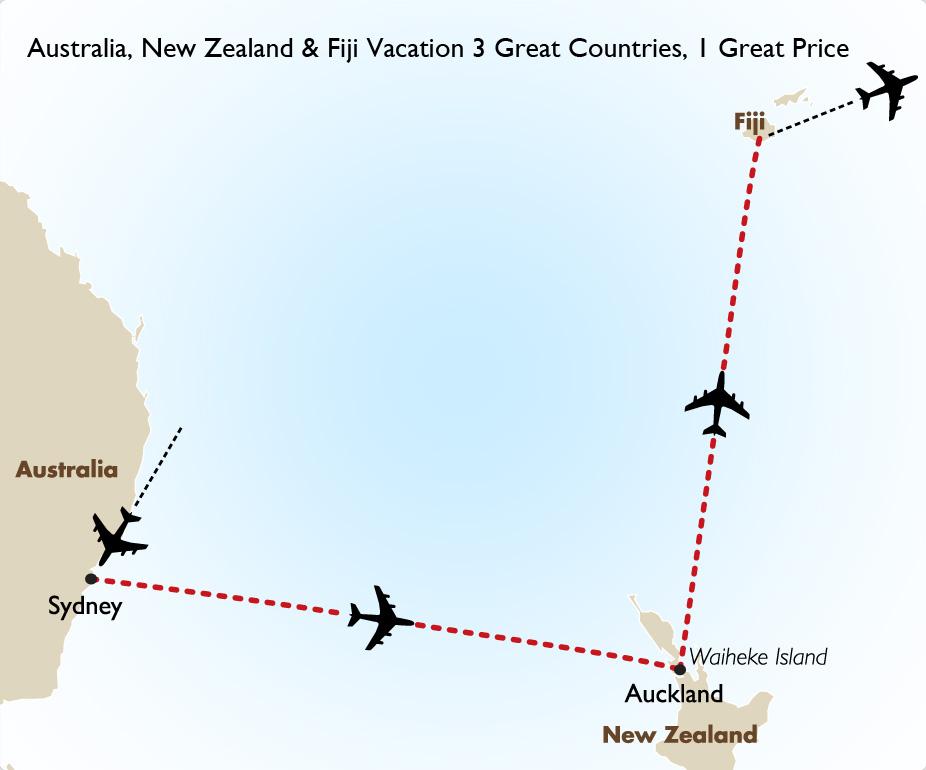 Map Of Australia New Zealand And Fiji.Goway Travel Australia New Zealand And Fiji Combo Vacation