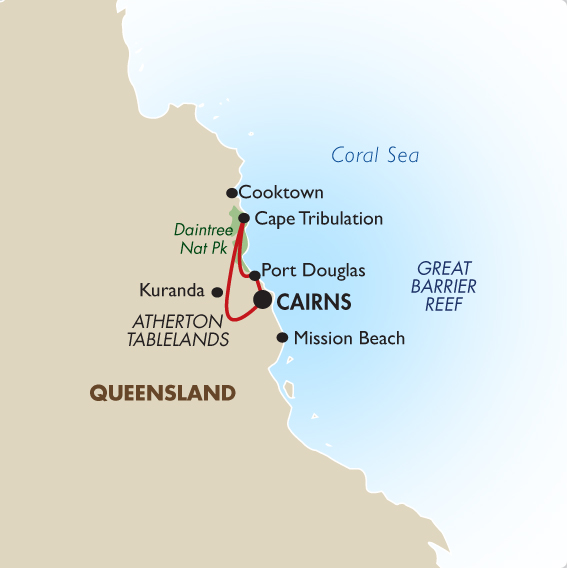 Great barrier reef self drive ex cairns australia tours goway itinerary view trip map sciox Gallery