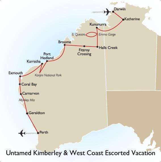 West Coast Of Australia Map.Untamed Kimberley West Coast Australia Vacation Goway