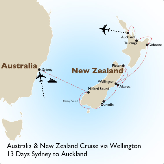 Australia To New Zealand Map.Australia New Zealand Cruise Australia Vacation Goway