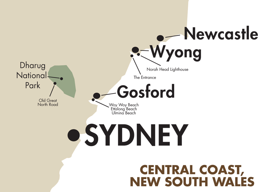 Central Coast Australia Map.Overview Goway Travel