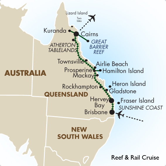 Brisbane to cairns reef rail cruise australia vacation goway itinerary view trip map gumiabroncs Image collections