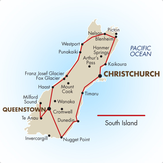 South Island New Zealand Self Drive Tour – New Zealand Tourist Map South Island
