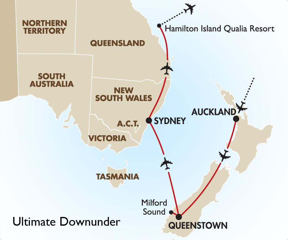 Map Of Australia New Zealand And Tasmania.Ultimate Downunder Australia New Zealand Vacation Tours Goway