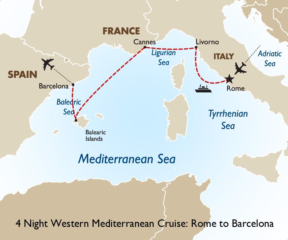 Night Western Mediterranean Cruise Rome To Barcelona Spain - Barcelona map europe