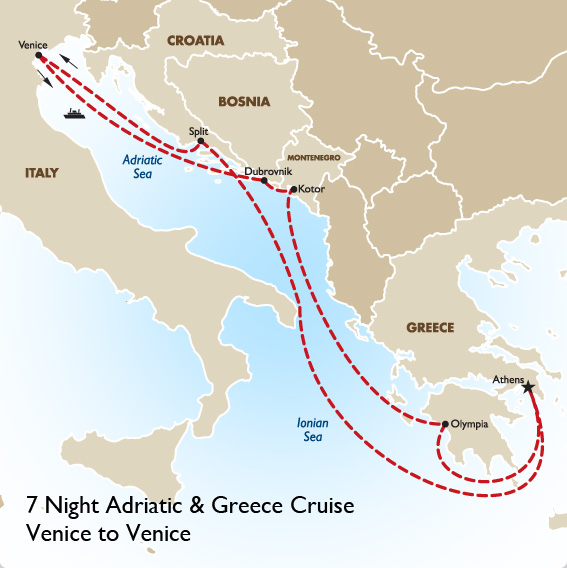 Map Of Italy Greece.Norwegian Cruises Line L Map Routes At A Glance L Goway Travel