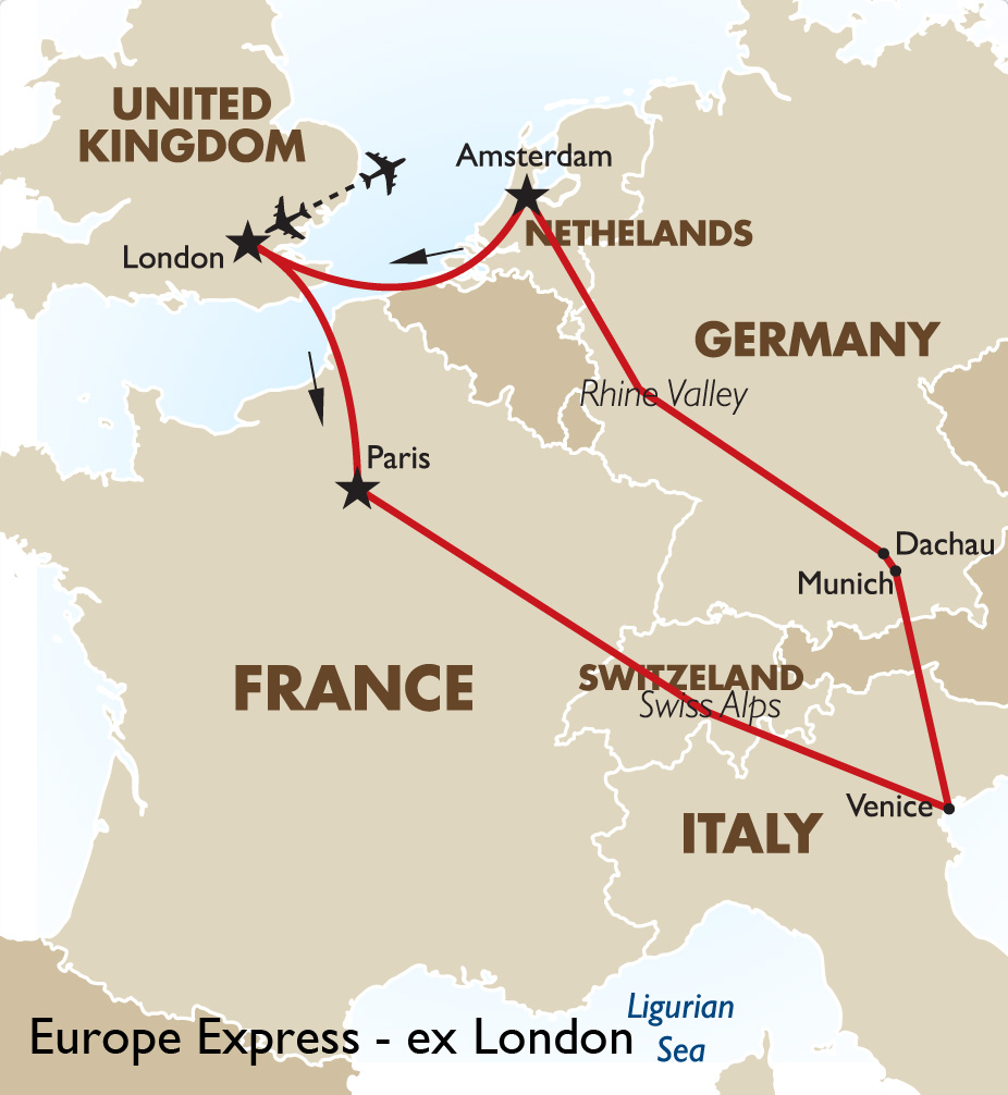 Seine River On Map Of Europe.Europe Express Fully Escorted Tours Goway