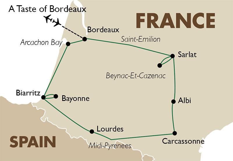 Bordeaux On Map Of France.A Taste Of Bordeaux