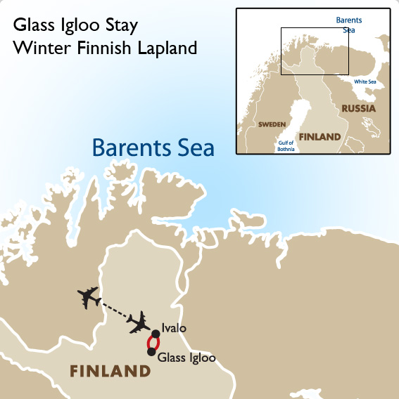 Glass Igloo Stay Winter Finnish Lapland Active And Adventurous - Sweden lapland map