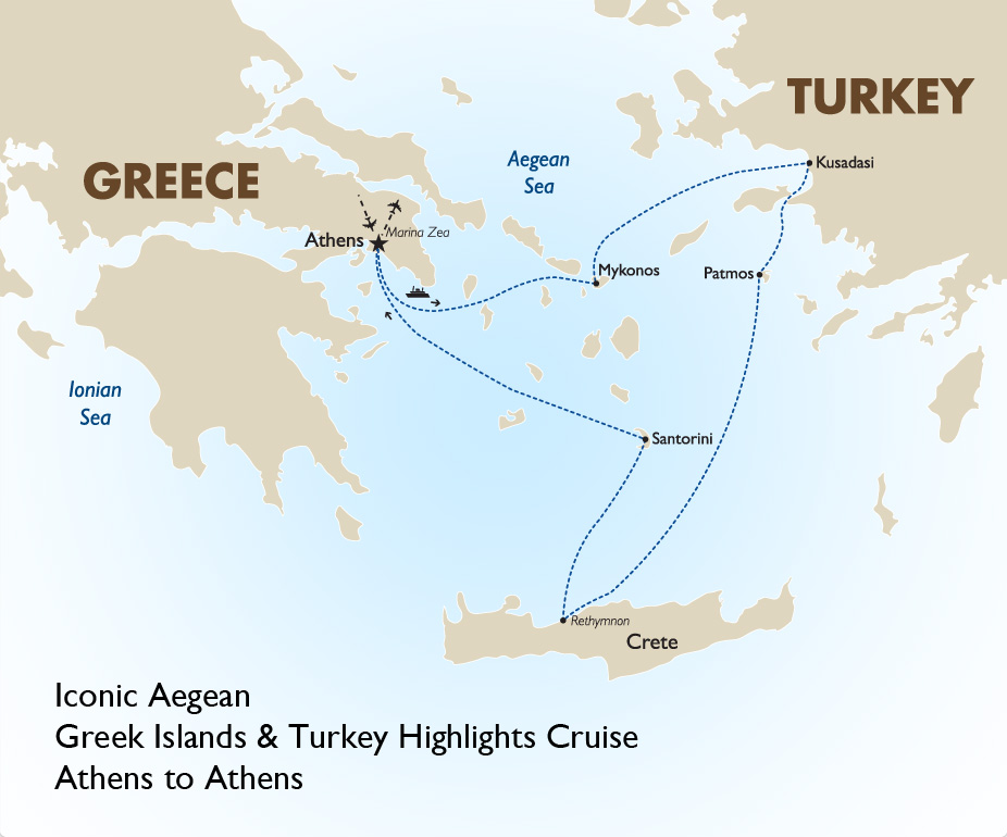 Iconic aegean greek islands turkey goway travel iconic aegean greek islands and turkey map 1415 gumiabroncs Images