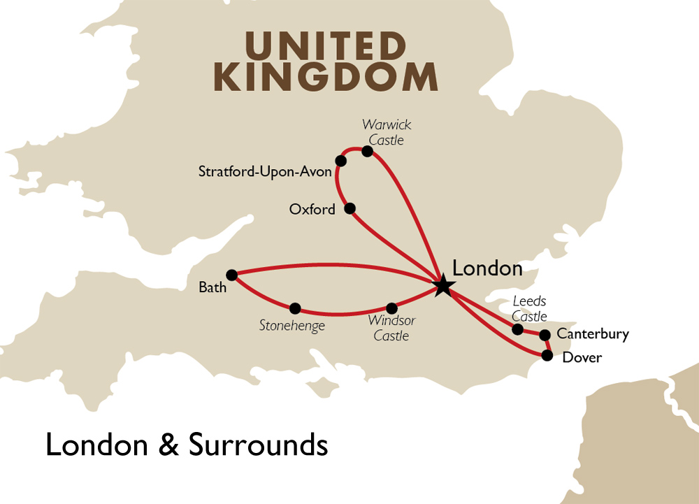 London And Surrounding Areas Map.London Surrounds London Vacations Goway Travel