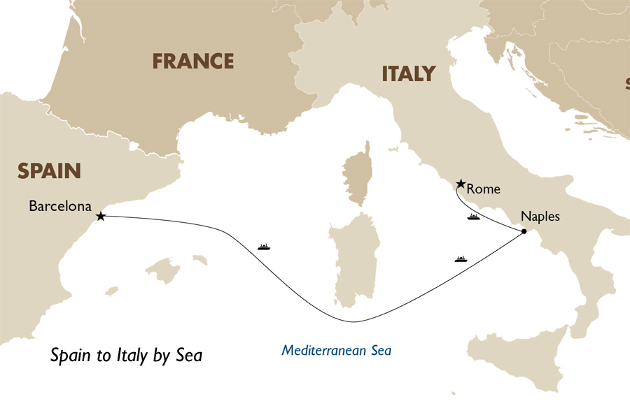 Spain to italy by sea spain trips goway travel itinerary view trip map gumiabroncs Image collections