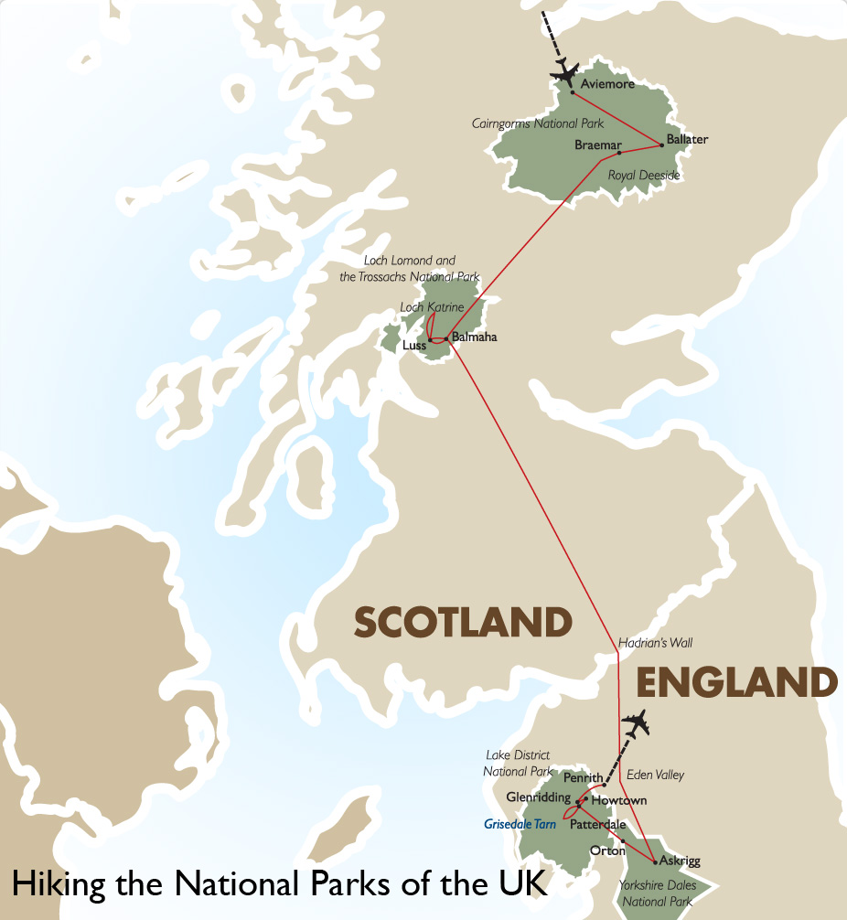 National Parks Uk Map.Hiking The National Parks Of The Uk Scotland Tour Goway