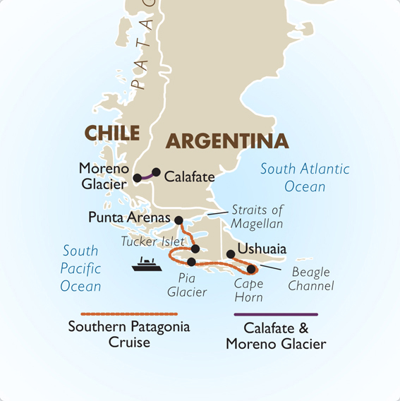 Patagonia tour packages calafate moreno glacier goway itinerary view trip map gumiabroncs Image collections