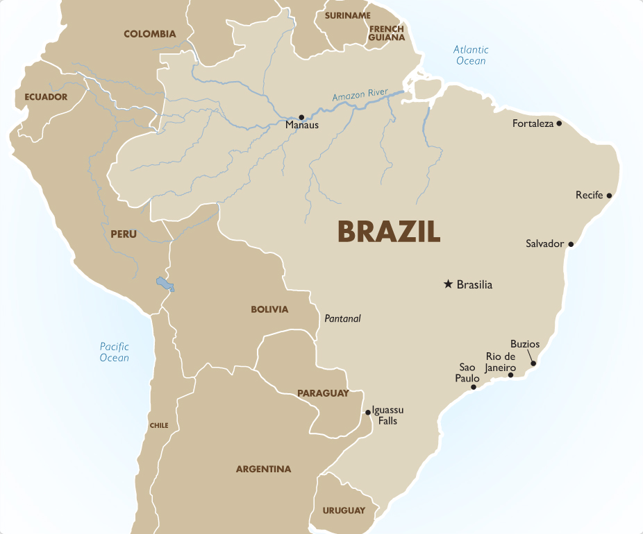 Brazil tours vacation packages travel deals 201819 goway brazil destination map gumiabroncs Choice Image