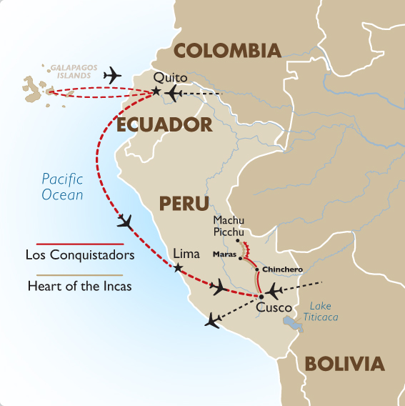 South America Map Galapagos Islands.Machu Picchu The Galapagos South America Tours Goway Travel