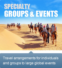 Travel arrangements for individuals and groups to large global events.